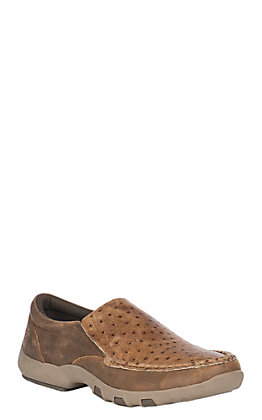 Roper Men's Owen Tan Exotic Ostrich Slip On Casual Shoe