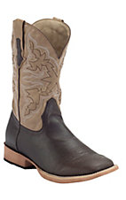 Roper Men's Dark Brown w/ Tumbled Tan Top Square Toe Western Boot