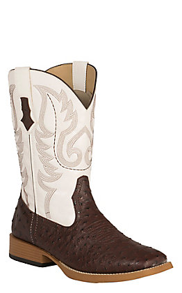 Roper Men's Faux Leather Dark Brown Ostrich Print and White Square Toe Western Boots