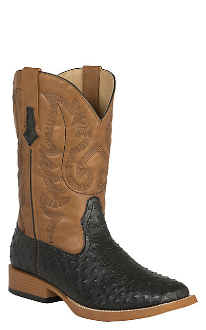 720d43152db Roper Men's Black Ostrich Print with Tan Top Double Welt Square Toe Western  Boots
