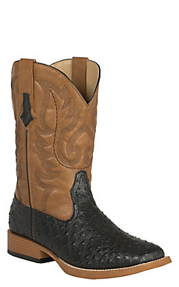 Roper Men's Faux Leather Black Ostrich Print and Tan Square Toe Western Boots