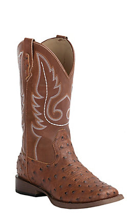 Roper Men's Faux Leather Tan Ostrich Print Wide Square Toe Western Boots