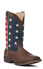 Roper Men's American Patriot Brown with American Flag Faux Leather Square Toe Boots