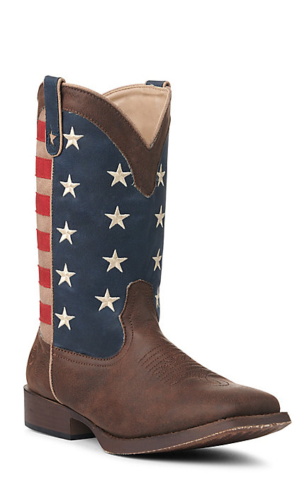 8d1e78e8802 Roper Men's Faux Leather American Patriot Brown with American Flag Square  Toe Western Boots