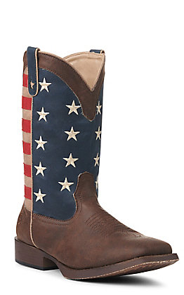 Roper Men's Faux Leather American Patriot Brown with American Flag Square Toe Western Boots