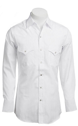 Ely Walker Solid White Long Sleeve Western Shirt - Big & Tall