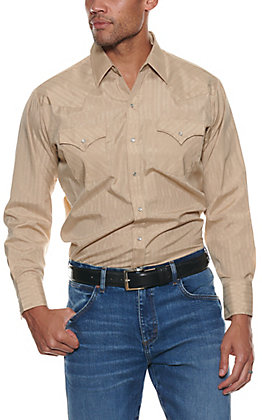 Ely Cattleman Men's Solid Khaki Long Sleeve Western Shirt