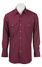Ely Cattleman L/S Tone on Tone Solid Burgundy Shirt