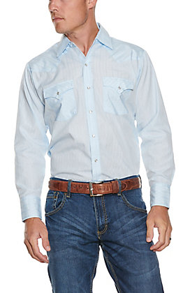 Ely Cattleman Men's Solid Light Blue Long Sleeve Western Shirt