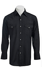 Ely & Walker L/S Tone-On-Tone Solid Black Shirt 20193489X - Big & Tall