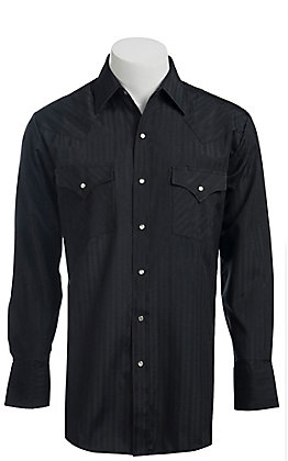 Ely & Walker L/S Tone-On-Tone Solid Black Shirt 20193489X - Big & Tall