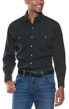 Ely & Walker L/S Tone-On-Tone Solid Black Shirt 20193489