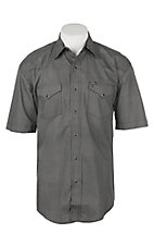 Stetson Men's Black with White Print Cavender's Exclusive Short Sleeve Western Shirt