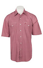 Stetson Men's Red and White Mini Print S/S Cavender's Exclusive Western Snap Shirt