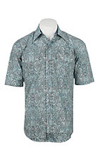 Stetson Men's Blue and Grey Paisley Print Short Sleeve Western Shirt
