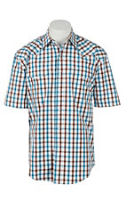 Stetson Men's White, Teal and Orange Plaid S/S Western Shirt