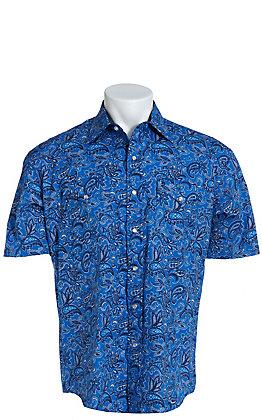 Stetson Men's Blue Paisley Short Sleeve Western Shirt