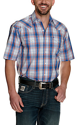Stetson Men's Blue and Orange Plaid Short Sleeve Western Shirt - Cavender's Exclusive
