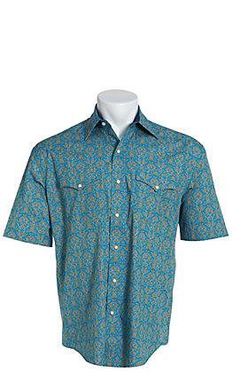 4a7b4c189beded Stetson Men's Blue Vintage Scroll Short Sleeve Western Shirt