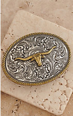 AndWest Kids Silver Scrolling with Gold Longhorn Oval Belt Buckle