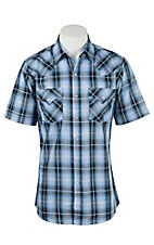 ELy Cattleman Men's Blue Plaid with Silver Lurex S/S Western Shirt