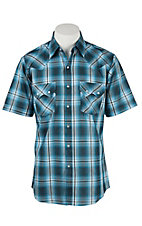 Ely Cattleman Men's Turquoise Plaid with Silver Lurex S/S Western Shirt