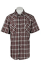 Ely Cattleman Men's Red Plaid with Silver Lurex S/S Western Shirt