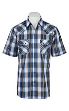 Ely Cattleman Men's Textured Blue and Grey Plaid S/S Western Snap Shirt
