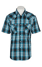 Ely and Walker Company Men's Turquoise Plaid S/S Western Snap Shirt