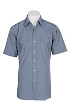 Ely and Walker Company Men's Grey Blue Tone on Tone S/S Western Snap Shirt