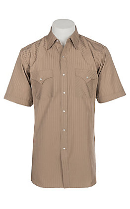 Ely and Walker Company Men's Khaki Tone on Tone S/S Western Snap Shirt