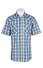 Ely Cattleman Men's Textured Blue & Tan Plaid S/S Western Snap Shirt