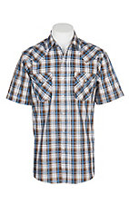 Ely Cattleman Men's Textured Tan w/ Blue Plaid S/S Western Snap Shirt