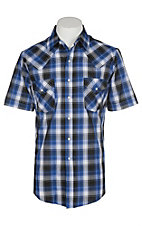 Ely and Walker Company Men's Royal Blue Textured Plaid S/S Western Snap Shirt