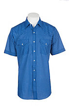 Ely Cattleman Men's Royal Blue Grid Print S/S Western Snap Shirt