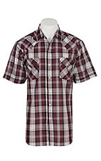 Ely and Walker Company Men's Burgundy Plaid S/S Western Snap Shirt