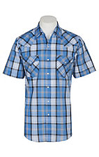 Ely and Walker Company Men's Light Blue Plaid S/S Western Snap Shirt