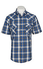 Ely and Walker Company Men's Lurex Blue Textured Plaid S/S Western Snap Shirt