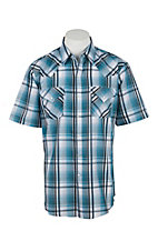 Ely Cattleman Men's Teal Plaid S/S Western Shirt