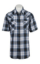 Ely Cattleman Men's Cobalt Blue Plaid S/S Western Shirt