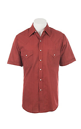 Ely Cattleman  Men's Red Short Sleeve Western Shirt
