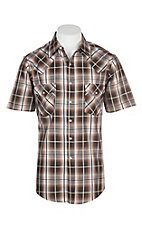 Ely Cattleman Men's Special Brown Plaid S/S Western Snap Shirt