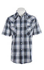 Ely Cattleman Men's Textured Blue & White Plaid Short Sleeve Western Shirt