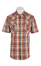 Ely Cattleman Men's Textured Orange Plaid Short Sleeve Western Shirt