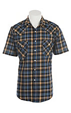 Ely Cattleman Men's Textured Teal Plaid Short Sleeve Western Shirt
