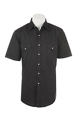 Ely Cattleman Men's Black Short Sleeve Western Shirt - Tall