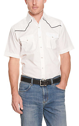 Ely Cattleman Men's White with black Piping Short Sleeve Fashion Shirt