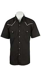 Ely Cattleman Men's Black with White Piping S/S Fashion Shirt