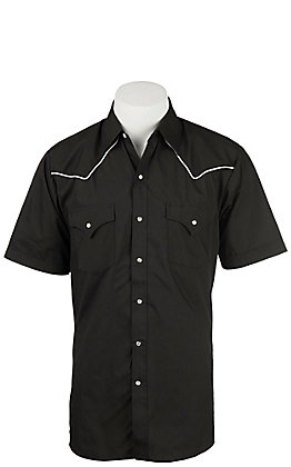 Ely Cattleman Men's Black with White Piping Short Sleeve Western Shirt
