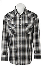 Ely Cattleman Men's Black with Silver Lurex Plaid Western Shirt